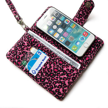 PINK TIGER SKIN iPhone 6 wallet leopard Card Holder Pouch Sleeve Bag Purse Samsung Galaxy s3 Galaxy s4 Note 2 Note 3 iPhone 4 4s 5 5s 5c