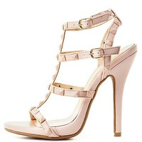 Studded T-Strap Dress Sandals by Charlotte Russe - Nude