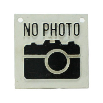 Kitschy No Photo Cast Iron Wall Plaque