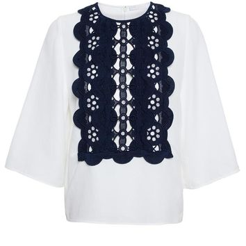 Linen Top with Lace Bib - CHLOÉ