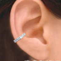 925, Cubic Zirconia - Solid Sterling silver ear cuff earring jewelry,  CZ non pierced earcuff for men and women  091612
