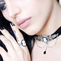 Cameo Gothic Choker - Black Velvet with Silver Centerpiece and Chains - Victorian Gothic Jewelry