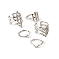 Rhinestoned Cutout Rings Set