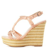 Qupid Strappy Platform Wedge Sandals by Charlotte Russe - Peach
