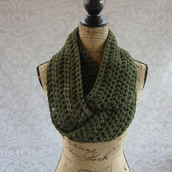 Ready To Ship Infinity Scarf Dark Olive Green Fall Winter Women's Accessory Infinity