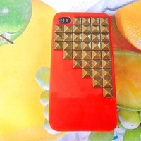 iphone 4 ,4S Hard Case Cover with antique bronze pyramid stud For Apple iPhone 4,4S ,iPhone 4 Case, iPhone 4s Case, iPhone 4 Hard Case -070