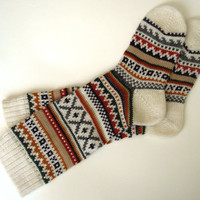 Scandinavian pattern rustic autumn fall winter knit knee-high wool socks Christmas gift CUSTOM MADE