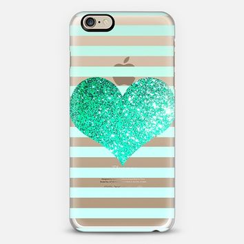 GLITTER LOVE HEART IN TEAL - CRYSTAL CLEAR PHONE CASE iPhone 6 case by Nika Martinez | Casetify