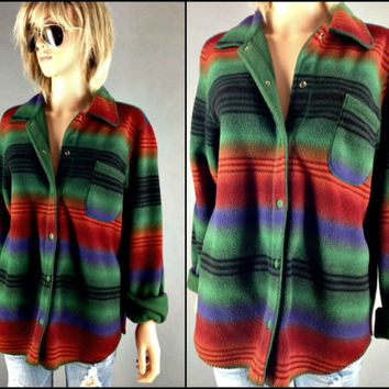 Vintage Blanket Shirt Jacket Native Indian Ethnic Southwestern Rainbow Top Reversible Fleece Souchy Top Shirt Jacket Oversized S M L