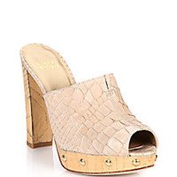 Stuart Weitzman - Croc-Embossed Leather Mule Sandals - Saks Fifth Avenue Mobile