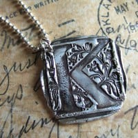 Monogram Necklace Silver Initial Jewelry Custom by happygolicky
