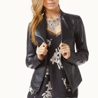 SLATE FAUX LEATHER JACKET