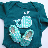 12- 18 months LONG Sleeve Whale Organic Baby Blue Gift Set- One Piece with Whale Applique and Matching Organic Shoes in Blue Bubble Print