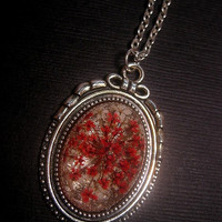 Pink Flower Globe Necklace In Silver Bow Top Setting - Appears Like Flowers Under Glass