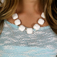 High Tide Ivory Square Stone Necklace - Ivory