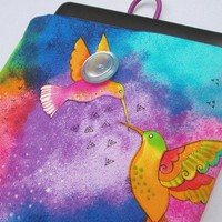 Kindle Cover Nook Cover Tablet Sleeve in Vibrant Hummingbird Print