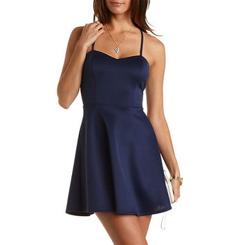 Strappy-Back Skater Dress by Charlotte Russe - Navy