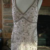 Ivory or Latte Wedding dress vintage inspired 1920s 1930s bridal gown embroidered beaded dress ivory ecru lace dress