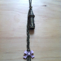"Rapunzel ""Let Down Your Hair"" Tower with Braid and Bow Necklace - Tangled"