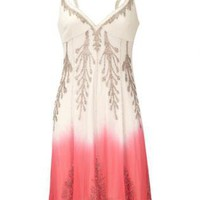 Bqueen Dip Dyed Beaded Dress Red K380R
