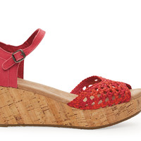 Raspberry Satin Woven Women's Platform Wedge