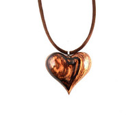 Wooden Heart Necklace, Wood Heart Pendant, Heart Necklace, Heart Pendant, 5th Anniversary Gift, Wood Jewelry, Heart Jewelry, Valentine's Day