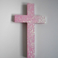 COTTON CANDY GLITTER Wall Cross - Sparkling cotton candy glitter cross