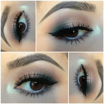 Wing liner with a pop of green and gold | Sephora Beauty Board