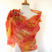 Silk Fashion Scarves. Felt Silk and Wool Scarf. Sunset Glow