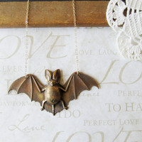 BATTY flying bat necklace in warm copper brass