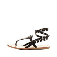 Studded Thong Gladiator Sandals by Charlotte Russe - Black