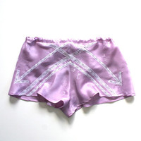 Panties Shorts Silk Lace Lingerie/ Lavender White Arrow Vintage Jacquard / Medium - Violette Garconne Tap Shorts
