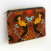 MERMAIDS in Brown Small Zipper Pouch by OceanPatch on Etsy