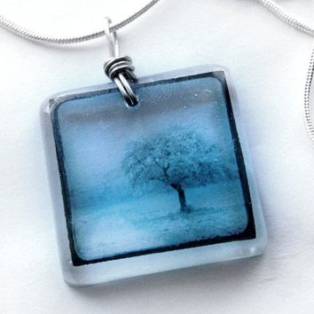 clear lone blue wintry tree ttv resin embedded by bethtastic