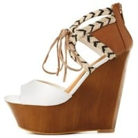 Dollhouse Lace-Up Raffia-Trim Wedges by Charlotte Russe - White
