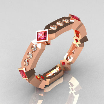 Classic 10K Rose Gold .27 ctw Diamond .48 ctw Rose Sapphire Eternity Ring Y256-10KRGDRS