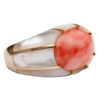 1STDIBS.COM Jewelry & Watches - Unknown - Coral and Mother of Pearl Ring - Nirvana International Inc.