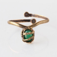 Antique gold  green agate stone gypsy vintage style witch cuff in bronze - made to order