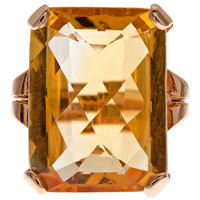 1STDIBS.COM Jewelry & Watches - Fine Citrine & Rose Gold Retro Ring - Fourtane