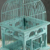 "Tiffany Blue Handcrafted Teak Bird Cage (16-1/2"") $39"