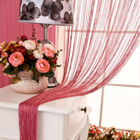 Burgundy String Curtain with Bead Sequin Spangle Fringe Panel Door Divider - Default