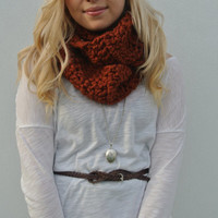 XTRA Chunky Crochet Infinity Wrap Scarf in Burnt Orange Spice