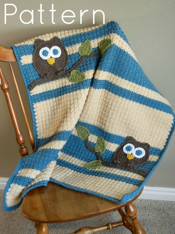 Crochet Owl Blanket : PDF Owl Baby Blanket Crochet Pattern from abbycove on Etsy My