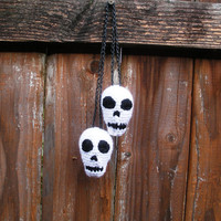 Plush Crochet Hanging Skulls Stuffies, ready to ship.