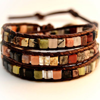 Mixed color beaded boho chic bracelet. Natural stone cube leather wrap bracelet.