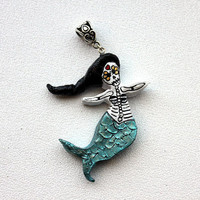 Mermaid Skeleton Day of the Dead Pendant or Ornament