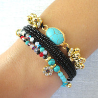 Black bracelet set turquoise winter jewelry turkish istanbul accessories ethnic authentic oriental best friend birthday gifts for women