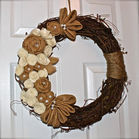 Grapevine Wreath with Ivory Felt and Burlap Flowers, Brown Twine and Embellished with Pearl Beads..