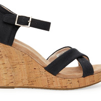BLACK CANVAS CORK WOMEN'S STRAPPY WEDGE