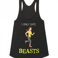 Only Date Beasts-Unisex Athletic Tri Black Tank